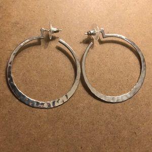 Silpada P1287 2 inch Silver Hammered Hoop earrings